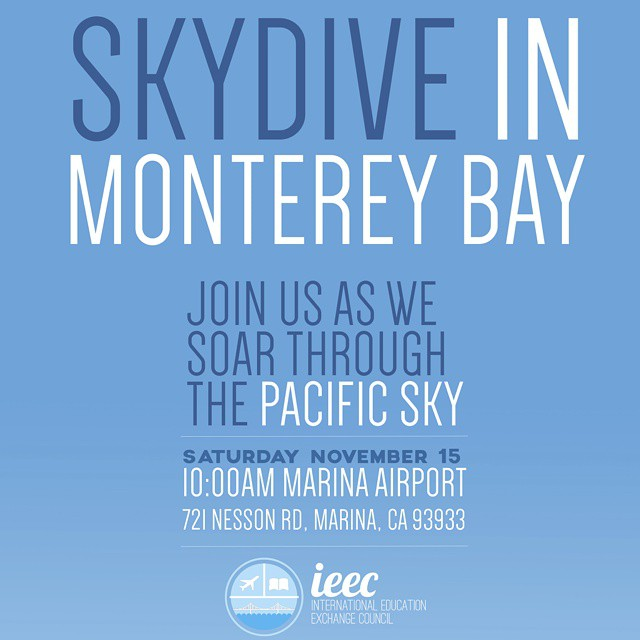 EVERYONE!!! Don't miss this incredible opportunity to do #Skydiving with #IEEC #SFSU in Monterrey Bay this Saturday 15th!  BUY TICKETS at the LINK in our IG Profile! #sf #sanfrancisco #monterreybay  What can be better than 60secs of FREE FALLING?!?!? COME AND JOIN US! #ieecfall